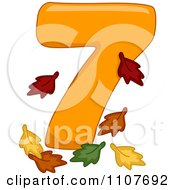 Clipart Number Seven With 7 Leaves Royalty Free Vector Illustration
