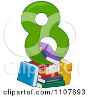 Clipart Number Eight With 8 Books Royalty Free Vector Illustration