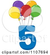 Clipart Number Five With 5 Balloons Royalty Free Vector Illustration