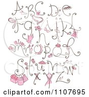 Clipart Feminine Letter Design Elements With Pink Items Royalty Free Vector Illustration