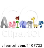 Clipart The Word Animals With A Worm Owl Elephant Rhino Giraffe And Shark Royalty Free Vector Illustration by BNP Design Studio