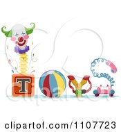Clipart The Word Toys With A Jack In The Box Ball Sling Shot And Telephone Royalty Free Vector Illustration by BNP Design Studio