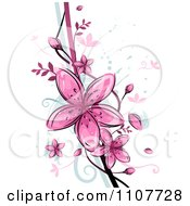 Clipart Pink Flowers Over Swirls And Splatters Royalty Free Vector Illustration
