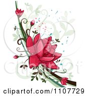 Clipart Red Lotus Flowers Over Swirls And Splatters Royalty Free Vector Illustration