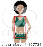 Clipart Happy Black Woman With A Rectangular Figure Royalty Free Vector Illustration