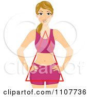 Clipart Happy Blond Woman With A Triangular Figure Royalty Free Vector Illustration by BNP Design Studio