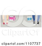 Clipart Website Header Of Shoppers Feet With Bags On Gray Royalty Free Vector Illustration