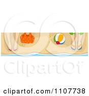 Clipart Website Header Of Male And Female Feet In Sandals On A Beach Royalty Free Vector Illustration