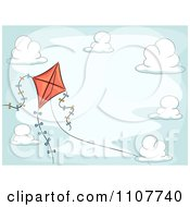 Clipart Red Kite With Ribbon Trails In A Cloudy Sky Royalty Free Vector Illustration by BNP Design Studio