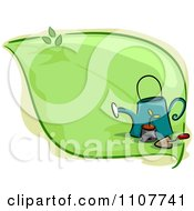 Clipart Green Leaf With A Potted Plant Watering Can And Trowel Royalty Free Vector Illustration