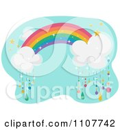 Clipart Rainbow With Clouds Raining Colors Over Blue Royalty Free Vector Illustration