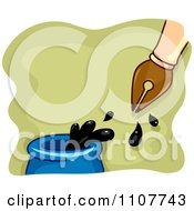 Clipart Fountain Pen Dipping In An Ink Well Over Green Royalty Free Vector Illustration