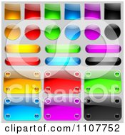 Clipart Reflective Plaques Icons And Buttons On Gray Royalty Free Vector Illustration
