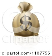 Clipart 3d Bank Money Bag With A Dollar Symbol On The Exterior Royalty Free Vector Illustration
