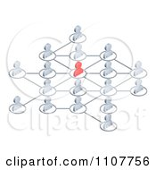 Clipart Networked 3d Avatar People Connected To A Red Person In The Center Royalty Free Vector Illustration