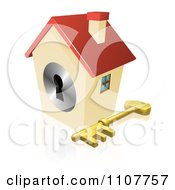 Clipart 3d House Padlock With A Skeleton Key Royalty Free Vector Illustration