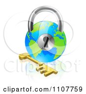 Clipart 3d Skeleton Key And Globe Padlock Royalty Free Vector Illustration by AtStockIllustration