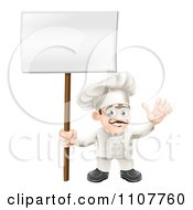 Happy Waving Chef Holding A Sign On A Post