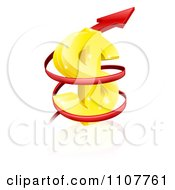Clipart 3d Rising Price Arrow Circling A Golden Dollar Symbol Royalty Free Vector Illustration
