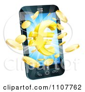 Clipart 3d Cell Phone With Gold Coins And A Euro Symbol Bursting From The Screen Royalty Free Vector Illustration