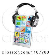 Clipart 3d Touch Screen Smart Phone With App Icons And Headphones Royalty Free Vector Illustration