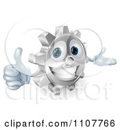 Clipart 3d Smiling Gear Cog Holding A Thumb Up Royalty Free Vector Illustration by AtStockIllustration