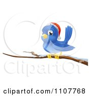 Clipart Christmas Bluebird Wearing A Santa Hat And Perched On A Branch With Snow Royalty Free Vector Illustration