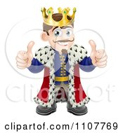 Clipart Happy King Holding Two Thumbs Up Royalty Free Vector Illustration