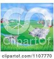 Clipart Landscape Of Wind Turbine Nuclear Fossil Fuel Coal Solar Panels And Hydro Electric Power Generation Plants Royalty Free Vector Illustration by AtStockIllustration