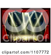 Clipart Empty Theater Stage With Red Drapes And Shining Lights Royalty Free Vector Illustration