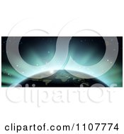 Clipart Blue Flares Of Eclipse Light Behind Earth Royalty Free Vector Illustration