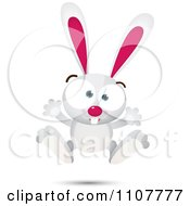 Clipart Happy White Bunny Rabbit Jumping Royalty Free Vector Illustration by Qiun