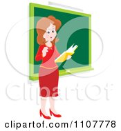 Clipart Happy Female School Teacher Reading A Book By A Chalk Board Royalty Free Vector Illustration