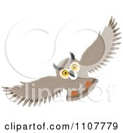Clipart Long Eared Owl Flying Royalty Free Vector Illustration by Alex Bannykh