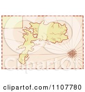 Clipart Vintage Map Of An Island With A Compass Star Royalty Free Vector Illustration