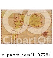 Clipart Grungy Aged Map Of An Island With A Compass Star Royalty Free Illustration