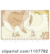Clipart Vintage Treasure Map With A Whale And Galleon Ship Royalty Free Vector Illustration