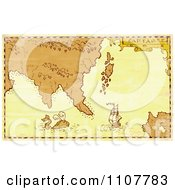 Clipart Grungy Treasure Map With A Whale And Galleon Ship Royalty Free Illustration by patrimonio