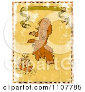 Clipart Grungy Ship And Island Treasure Map With A Ribbon Banner Royalty Free Illustration