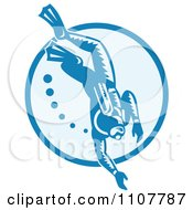 Clipart Retro Woodcut Scuba Diver With Bubbles In A Circle Royalty Free Vector Illustration