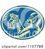 Retro Woodcut Painter Using A Spray Gun In A Blue Oval