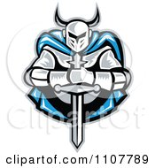 Clipart Retro Woodcut Knight Holding A Sword And Wearing A Blue Cape Royalty Free Vector Illustration