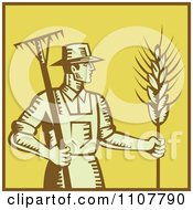 Clipart Retro Woodcut Styled Farmer With A Rake And Wheat Over Yellow With A Brown Border Royalty Free Vector Illustration