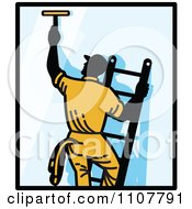 Window Washer On A Ladder Reaching Up And Using A Squeegee With Black Borders