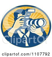 Clipart Retro Male Photographer Using A DSLR Zoom Lense Camera In An Oval Of Rays Royalty Free Vector Illustration