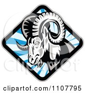Clipart Bighorn Sheep In A Diamond Of Blue Rays Royalty Free Vector Illustration