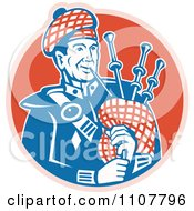 Clipart Scottish Bagpiper Musician Over A Red Circle Royalty Free Vector Illustration