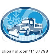 Clipart Snow Plow Truck On A Road In A Blue Oval With A Snowflake Royalty Free Vector Illustration