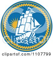 Clipart Sailing Galleon Ship In A Blue Circle With Rope Royalty Free Vector Illustration