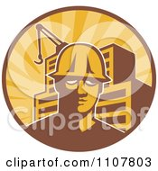 Retro Construction Worker Man In A Hardhat In A Circle With Rays A Building And Crane